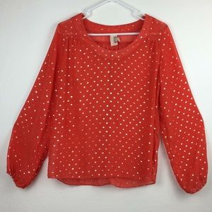 Anthropologie Birdcage sheer blouse gold dots-S
